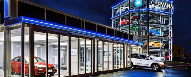 Carvana buiding and 5-story car tower